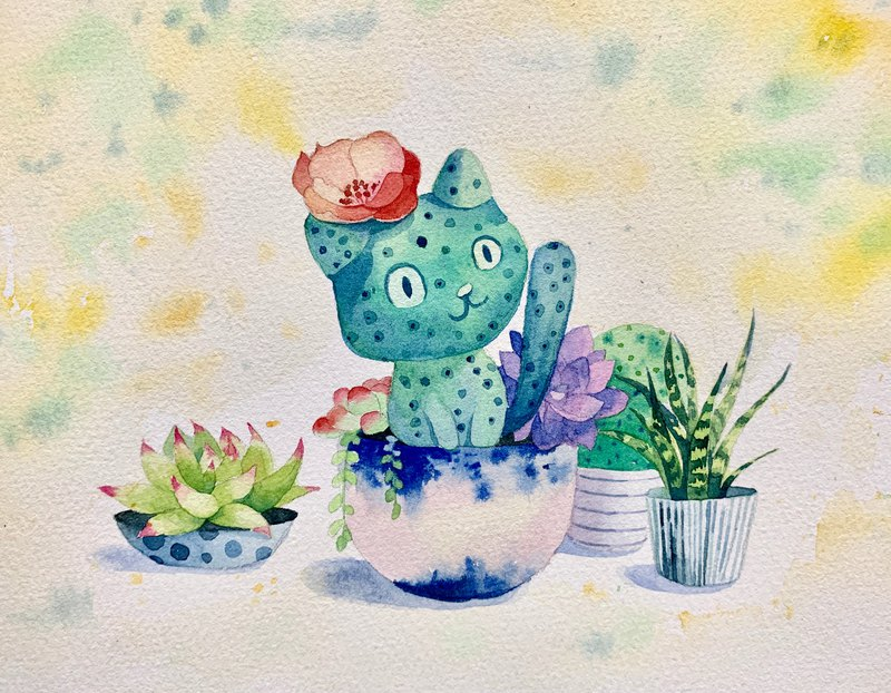 Yu Yu watercolor painting succulent cats can order watercolor sketches watercolor watercolor painting decorative painting