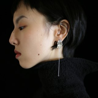 [fall] [sea environment] independent design 手工 handmade silver original irregular texture earrings