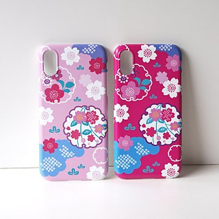 Plastic iPhone case - Japanese Cherry Blossoms and Snowy Crystals -