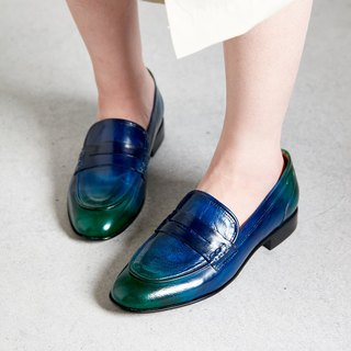 H THREE PENNY Carrefour shoes / flat / blue / green / Loch Ness