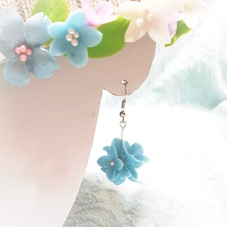 Pearl blue flower ball earrings