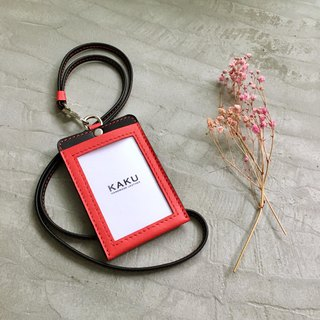 KAKU leather design customized identification card folder leisure card holder certificate clip red