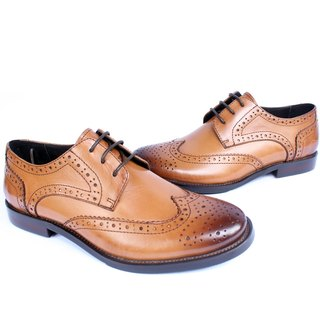 Temple Xiaoliang Pin British classic leather carved derby shoes Brown