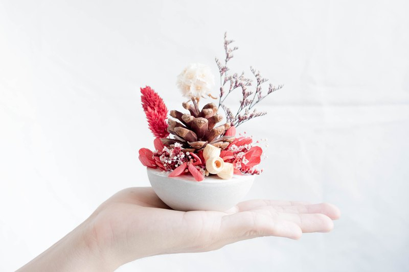 Roly-poly Diffuse Table Flowers | Pinecone Christmas Greetings