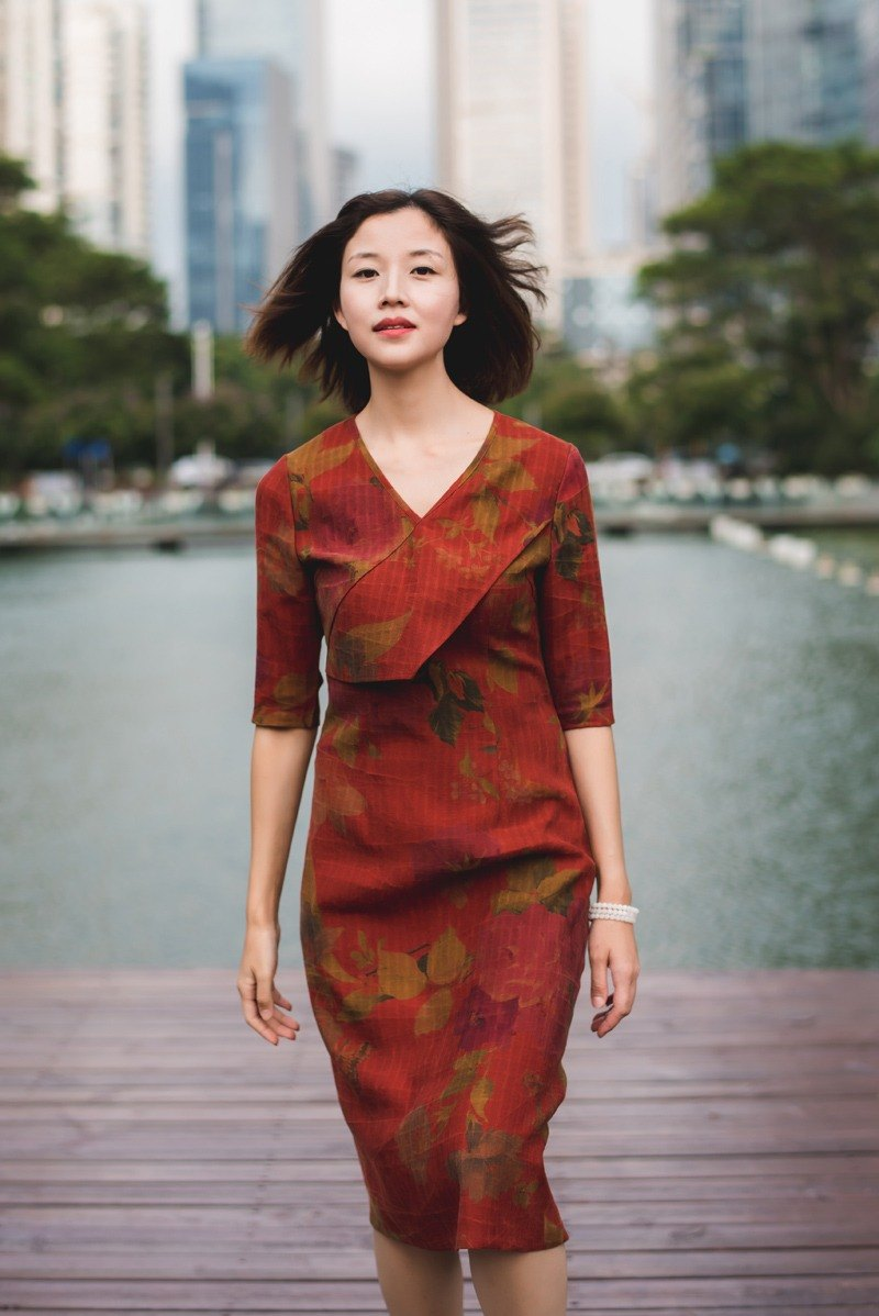 The new silk silk fragrant silk dress in autumn