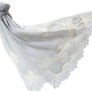 Angel Woolen Indian Pashmina handmade cashmere lace shawl Audrey charm and beautiful white