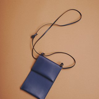Vegetable tanned sliver mini bag navy blue mini bag mobile phone bag fete