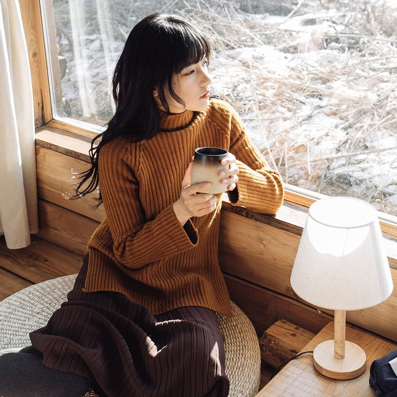 Caramel Anne Chen 2017 winter new women's vertical stripes short knit long before the knit sweater