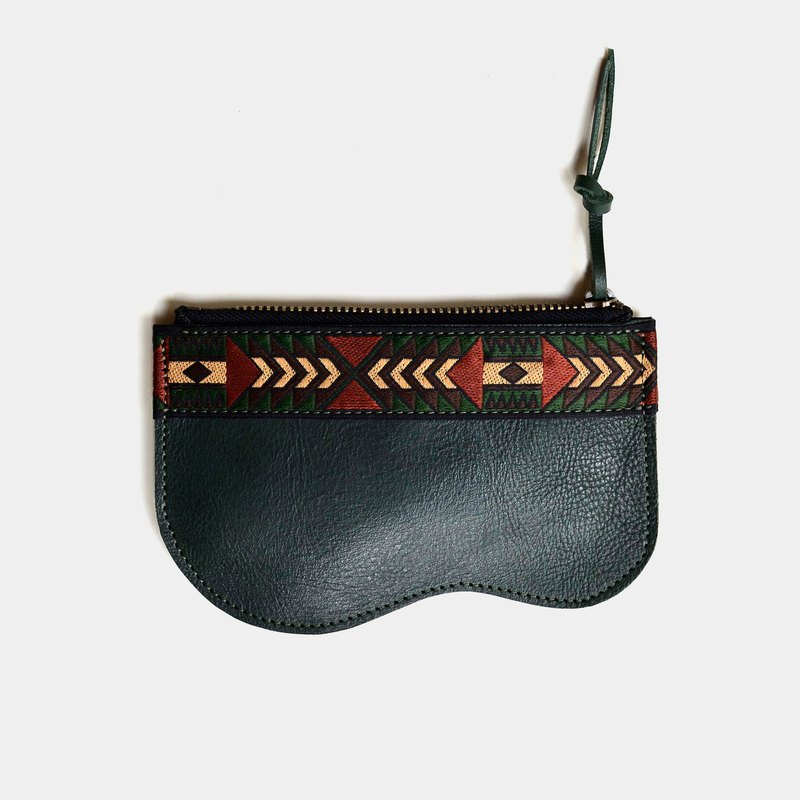 [Mayan's Kit] Vegetable Tanned Coin Purse Green Leather Lettering Folk Ethnic Zipper