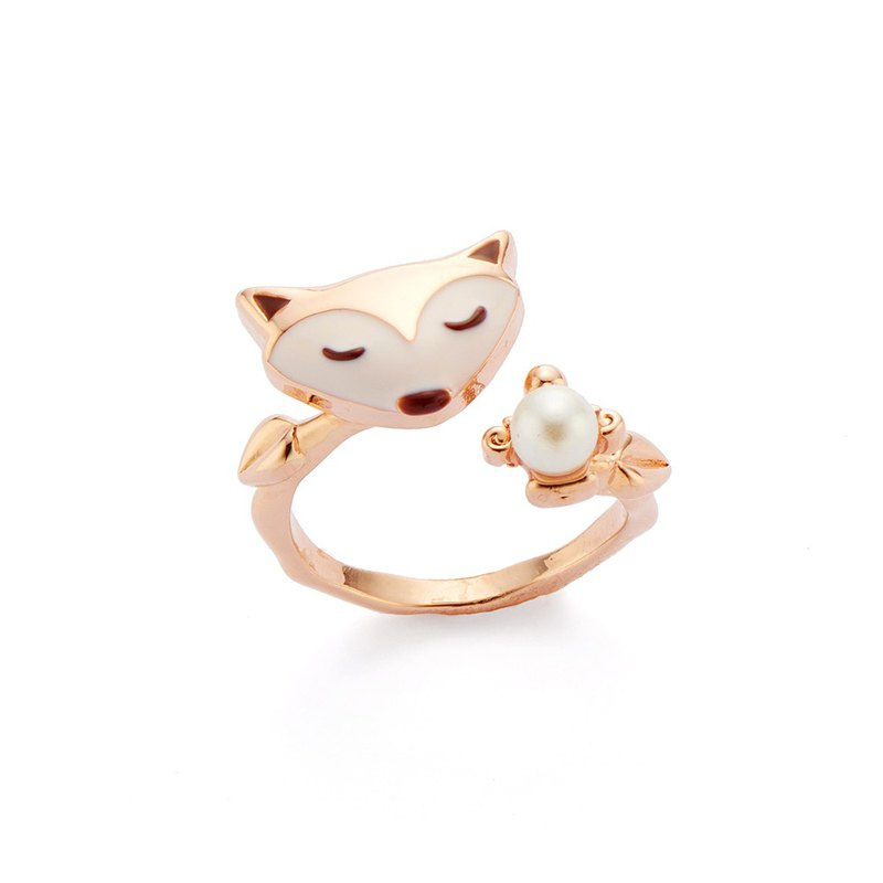 PY Glamour Pearl Fox Ring 16K Rose Gold