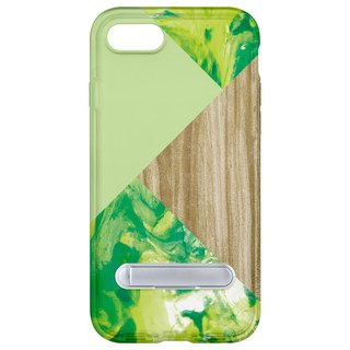 Wood green marble hidden magnet bracket iPhone 8 7 6 plus mobile phone case