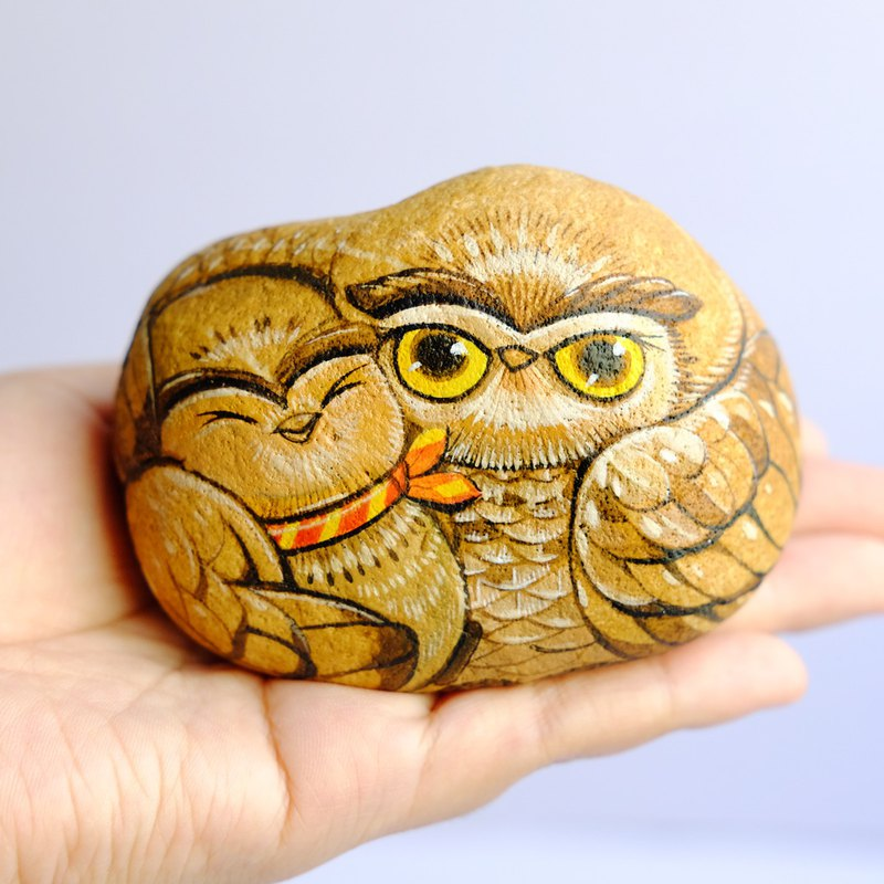 Owl stone painting.(father & Child) .