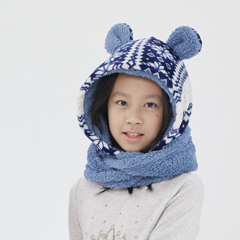 Yuki winter holiday warm hoody twist scarf / Blue