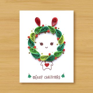 Handmade roll paper stereo card _ cute Christmas rabbit _A... Christmas card, Christmas