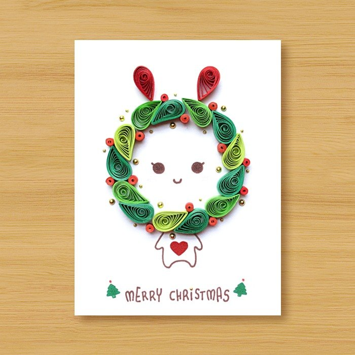 (2 models to choose from) Hand-rolled paper card _ Cute Christmas Animals