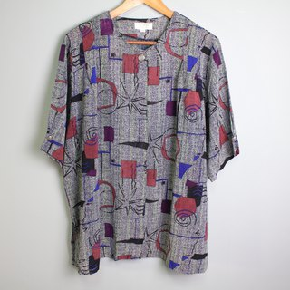 FOAK vintage 60's abstract geometric color shirt