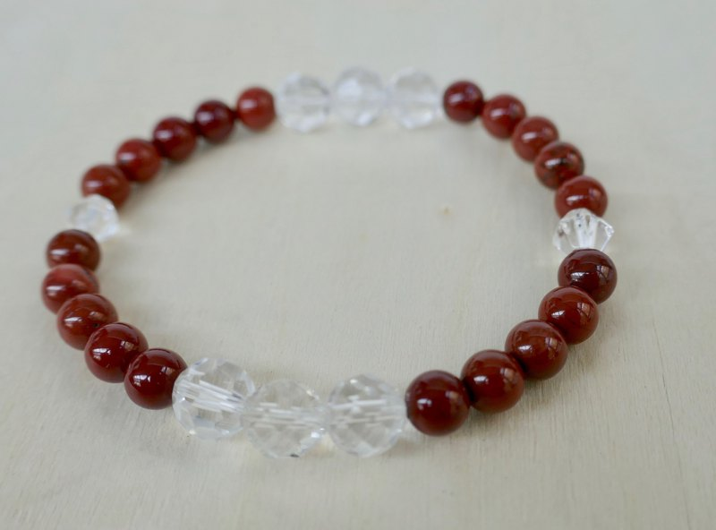 BR0388 - Natural Gemstone Bracelet - Design and Manufacture - Natural Red Stone and White Crystal