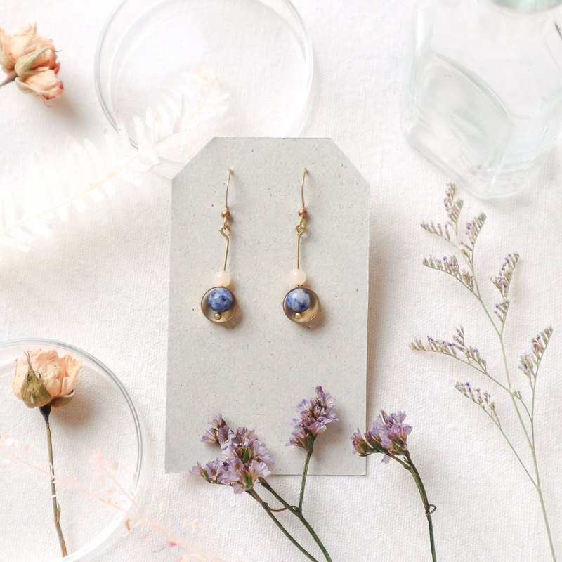 Natural stone geometric brass earrings - departure