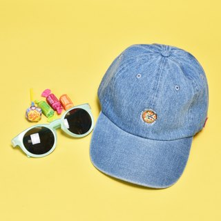 'PIZZA CIRCLE LOGO'Denim Cap L-BLUE