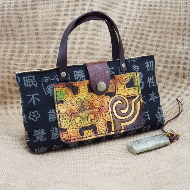 Leather ancient cloth mobile phone bag - Ruyi Yunlong