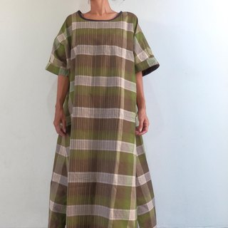 【Order Production】 One Piece Dress / Olive made with Check Salon