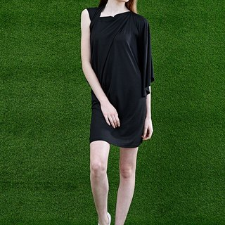 Asymmetric Sleeve Knit Draping dress (designed specifically for petite women)