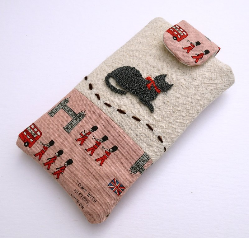 Blue cat embroidery phone bag (M) for 5 inch mobile phone
