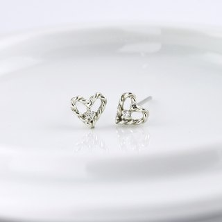 Sterling Silver Twisted Heart Frame Earrings with CZ diamond