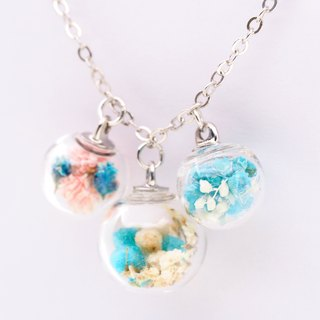 「OMYWAY」Handmade three Dried Flower Necklace - Glass Globe Necklace