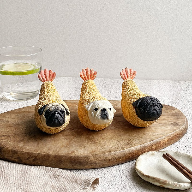 Japanese-style fried shrimp pug | Pug / animal decoration / office healing small things / gifts