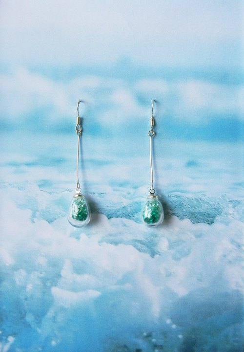 *coucoubird*- spray - gradient blue green diamond earrings / 925 silver ear hook