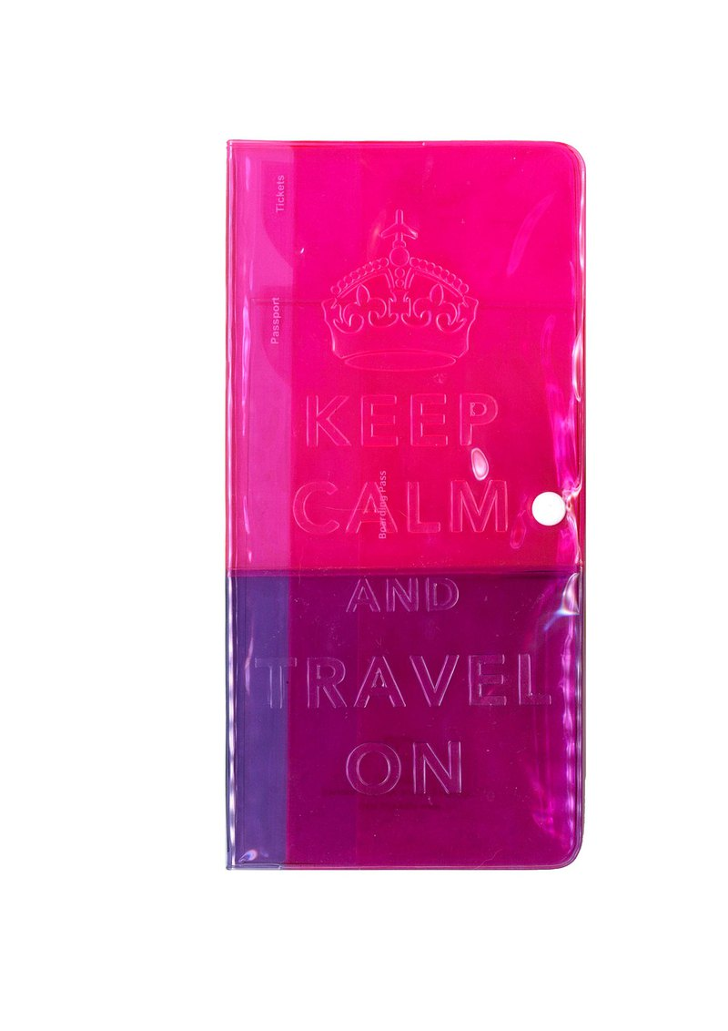 Keep Calm & Travel On Neon Jelly Boarding Wallet - Pink Purple