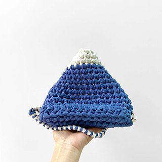 Duo Color Triangle Handbag, crochet, knit, handmade ( Light Blue / White)