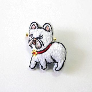 【Order Production】 French Bull Embroidery Broach