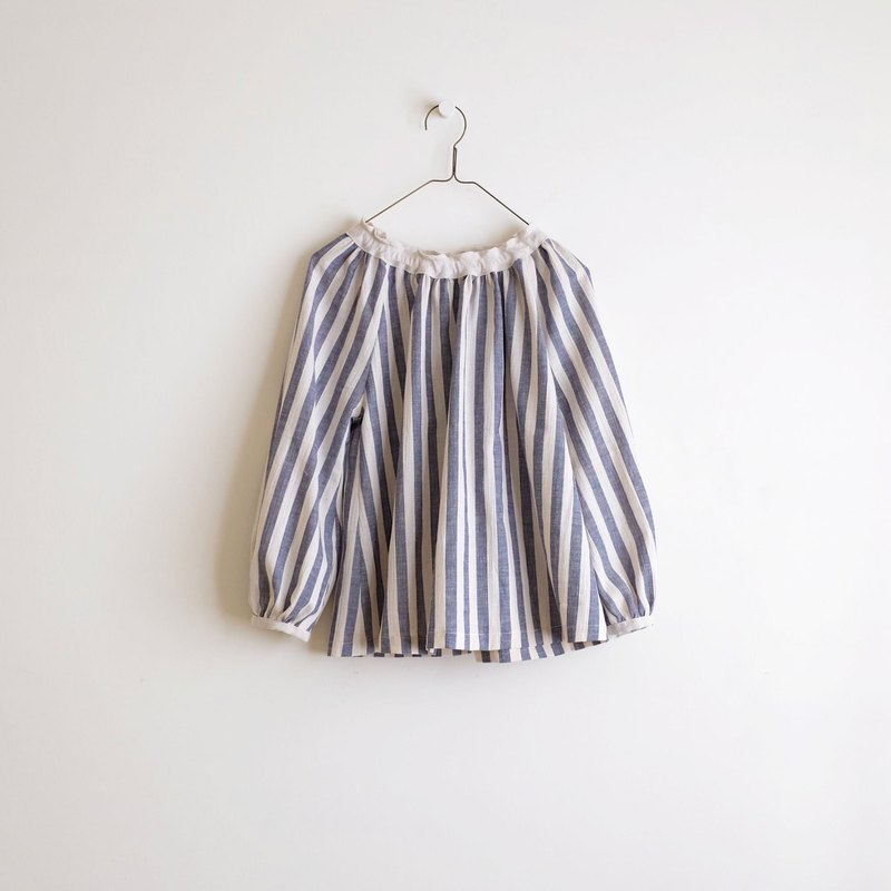 Daily hand-made suit retro blue thick striped puff sleeve elastic blouse cotton and linen