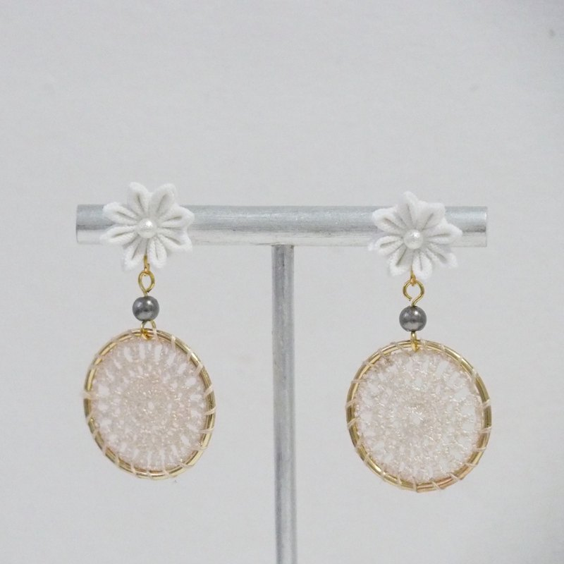 [Dream Dream] pure white flower dream catcher custom earrings ear clip 14kgf 925