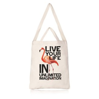 Imagination is your super ability - red crane straight canvas bag