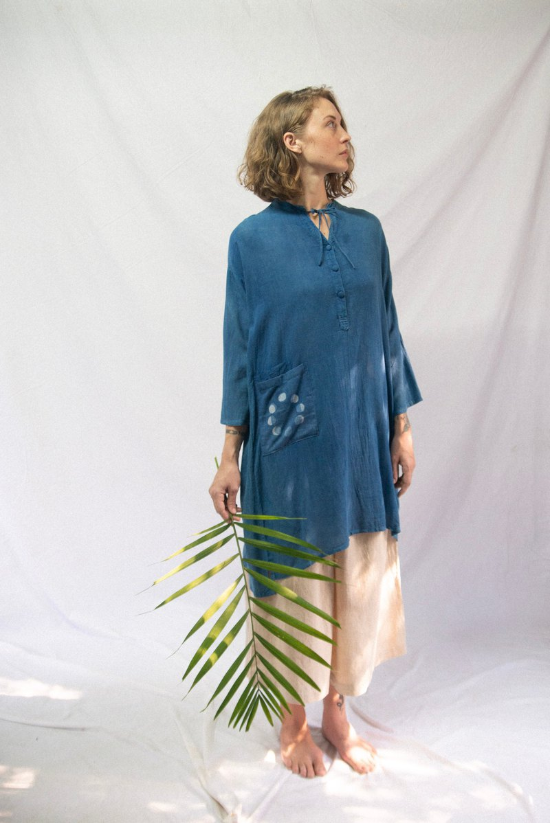 Lunar Dress | Natural Blue Indigo Color |