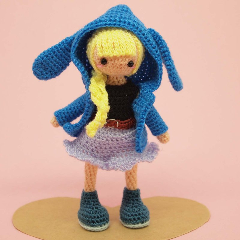 crochet doll/amigurumi/key chain/ blue rabbit jacket【made-to-order】