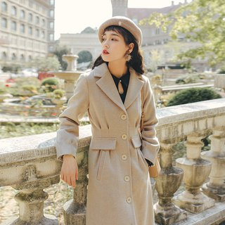 2018 autumn and winter women's new product closing sleeve single-breasted long coat