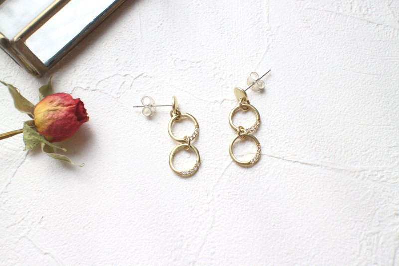 Circles-zircon brass earrings