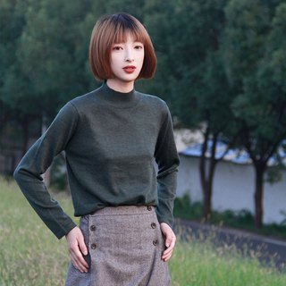 Half-high collar sweater - dark dark green | sweater | autumn and winter models | cotton and cotton blend | independent brand | Sora-190