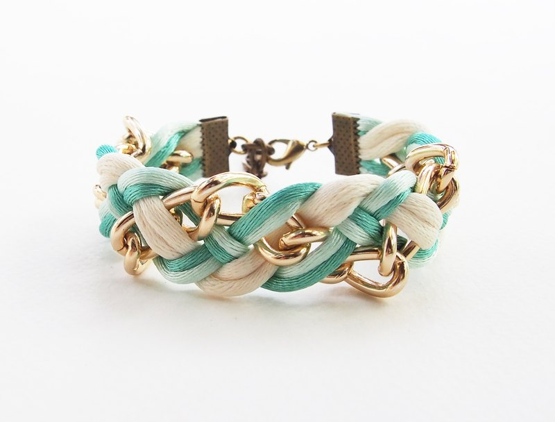 Mint/white braided with chain bracelet