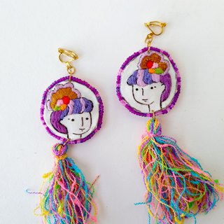 Hand-painted illustration embroidery bead embroidered biscuit earring