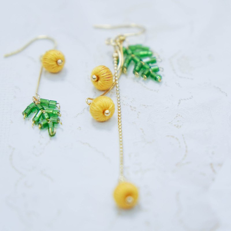 Deer chestnut original design embroidery hand made summer fresh beaded acacia cherry earrings can be customized ear clip