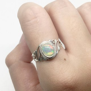 Opal 925 sterling silver carved design ring Nepal handmade mosaic production