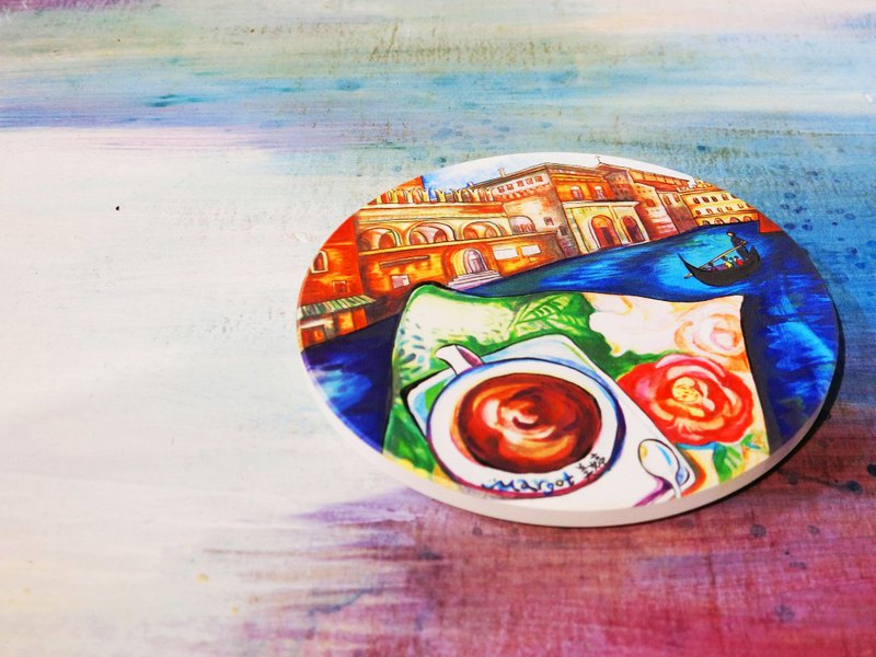 Hand-painted wind ceramic water coaster Italy impression