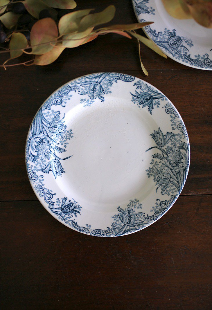 French antique old flower plate No.1 dinner plate