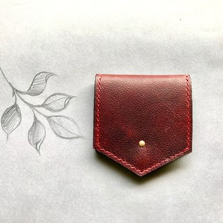 POPO│ Dark Red │ Crazy Horse Leather. Lightweight Small Coin Purse