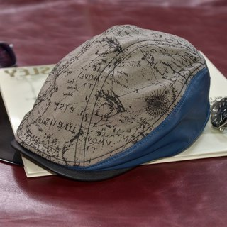 [MAJORLIN] sheepskin splicing flat hat gray map vintage cap berets